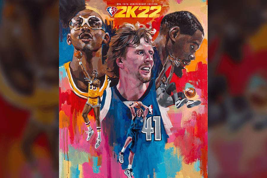 Dirk Nowitzki und weitere Legenden auf dem Cover von NBA 2K22